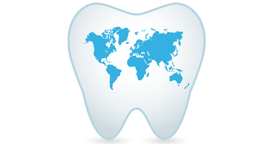 Tooth with world map inside
