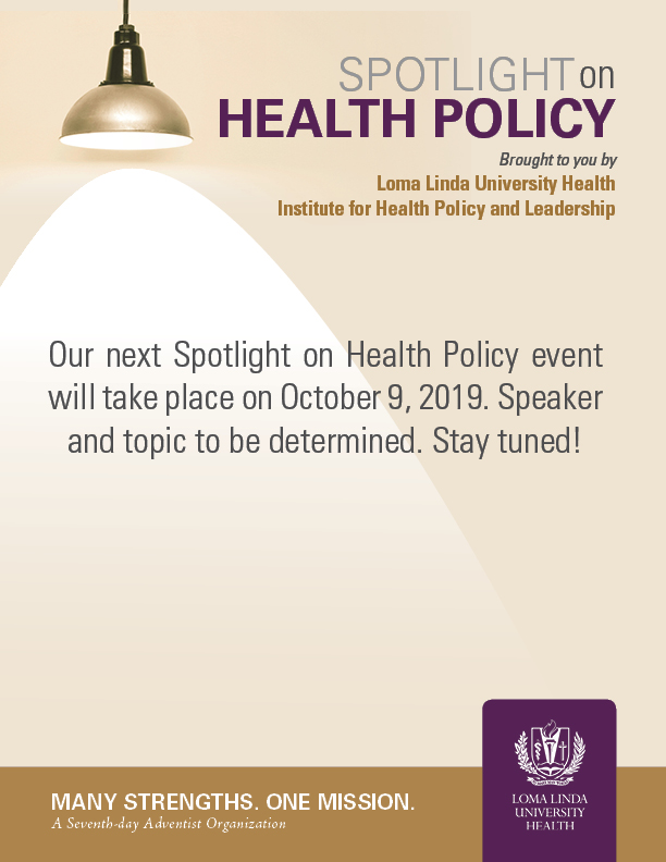 Upcoming Spotlight on Health Policy on October 9, 2019